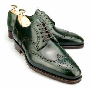 Handmade men derby green shoes, dress formal leather shoes, wingtip brogue shoes