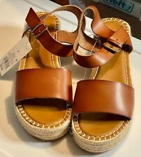Women's Leather Cognac Wedge Universal Thread Summer Sandals Brown NWT No Box