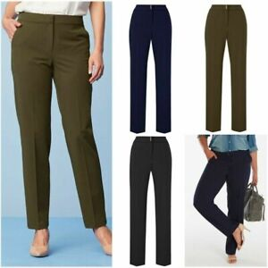 Magisculpt Ladies Formal Stretch Tapered Leg Tailored Control Zip Trousers Size