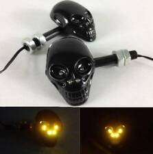 2pcs 4 LED Universal Motorcycle Skull Turn Signal Indicator Amber Light Lamp