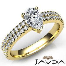 Pear Diamond Engagement U Shape Prong Set Ring GIA H VVS2 18k Yellow Gold 1Ct