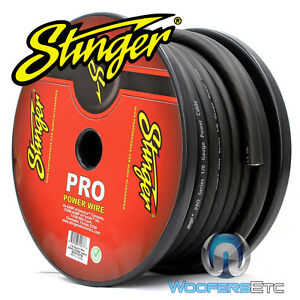 STINGER SPW10TB-50 PRO 1/0 GAUGE AWG BLACK 50 FEET POWER GROUND WIRE CABLE CORD