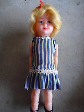 "Vintage 1960s Hard Plastic Windup Blonde Character Girl Doll 6 3/4"" Tall"