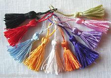 LOT de 10 MINI POMPONS GLAND SATINÉ * 5 cm * 10 coloris mélangés - bijoux tricot