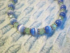 8 1/2 inch BLUE Cat Eye and GREEN Crystal Bead Bracelet w/ SILVER Spacers E-78