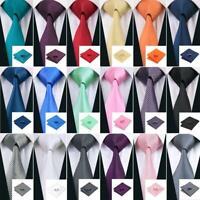 Classic Solid Plain 99 Colors Men's Tie 100% Silk Necktie Set Wedding F&S