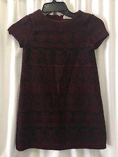 ZARA KIDS GIRLS Burgundy Black Textured DRESS FULLY LINED Soft Shift SIZE 8