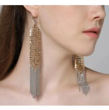 Trendy Aluminium Sequins Silver Gold Shades Drop Dangle Earrings Women Jewellery