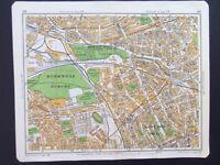 "NOTTING HILL LONDON KENSAL GREEN VINTAGE 1929 GEOGRAPHIA STREET MAP 7""x9"""