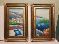 quadri DIPINTI A MANO olio su tela marina cornice legno FOGLIA ORO coppia 35X55