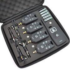 4pcs Wireless LED Fishing Bite Alarm + 1 Receiver Set + 4 Fish Swingers + Case