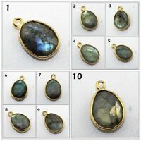 Sizzling Tiny Oval Natural Labradorite 24k Gold Plated Bezel Connector Jewelry