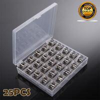 Clear Plastic Box With 25 Metal Bobbins Sewing Machine Bobbin Case Spool Storage