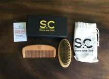 Beard Brush & Comb For Men With Gift Box and Nylon Bag. Real Boar Bristle Beard