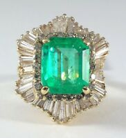 Natural 4.44ct Colombian EMERALD GOLD Ring - R9646