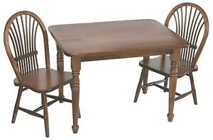 Amish Handcrafted Kids Toddlers Sheaf Table and Chairs 3-Pc Set Solid Wood
