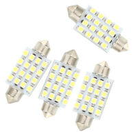 T8 4 Pcs 42mm 16 SMD LED White Car Dome Festoon Interior Light Bulb