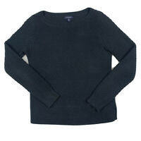 Lands' End Women XS X Small 2-4 Pullover Crew Neck Cotton Knit Sweater Top Blue