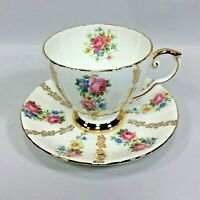 Royal Grafton Bone China Tea Cup and Saucer Set England Roses Gilt Gold Spray
