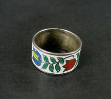 Ring Silver with Enamel Flowers Sterling Silver 925 Wide Band RING Size 6