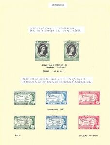 Dominica GVI 1953 Coronation sg139 1958 sg159-61 MM and used