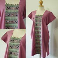 Women's Thai Hill Style Cotton Purple Pink Color Midi Dress Hmong Free Size