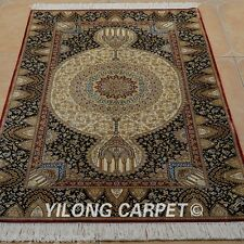 Yilong 3'x5' Square Handmade Silk Area Rugs Country Carpets Hand Knotted 1924