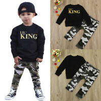 Toddler Kids Baby Boys Letter T Shirt Tops Camouflage Pants Outfits Clothes Set