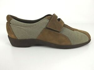 Monro Size 8 M Walking Shoes Brown Tan Fabric & Suede Leather Comfort Casual