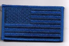 BLUE LINE POLICE FLAG  2 X 3  EMBROIDERED PATCH WITH HOOK LOOP
