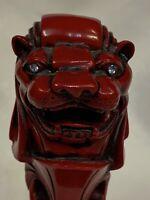 Red Carved Singapore Merlion Sea Lion Statue Sculpture Figurine Rhinestone
