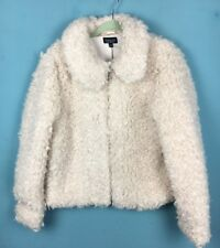 Topshop Ivory Cream Curly Faux Shearling Peter Pan Collar Coat Jacket 16  - B61