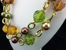 """KJL Kenneth Jay Lane Dramatic Pearl Necklace Warm Autumn Colors 43"""" Long NEW"""