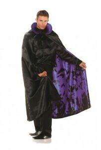 Satin Cape Purple Bat Lining Adult Men Women Halloween Costume Accessory Vampire