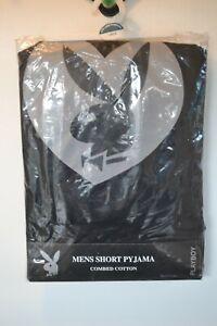 Vintage Playboy Men's black short Pyjamas combed cotton size Large bunny