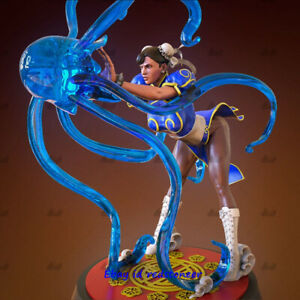 Chun Li Kung Fu Girl 1/6 Statue Resin Model Kit Unpainted 3D Printed LED light
