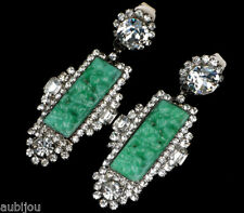 CHRIS CROUCH MOANS COUTURE FAUX JADE GREEN CARVED GLASS CRYSTALS DROP EARRINGS