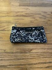 VICTORIA SECRET Black & Grey Sequin Clutch Purse Hand Bag Q1