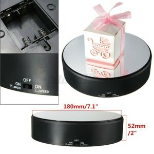 Turntable Display Stand Show Mirror 360° Rotating Rotary Holder Battery Power