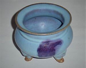 A Rare Song Dynasty Junyao Sky-Blue Glazed Tripod with a Purple Splash
