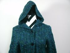 Chico's Cable Knit Button Up Cardigan Hooded Sweater Sz 0 Small Womens  Blue