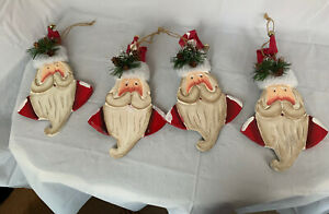Santa Claus Heads Faces 4 Wood Ornaments Red White Christmas W/Bells Painted 9.5