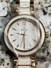 NEW OLD  BULOVA WOMEN'S $399 WHITE & GOLD CERAMIC/STAINLESS STEEL WATCH 98L173