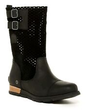 SOREL BOOTS Major Pull On Perforated Mid Calf Leather Suede Booties Black 9M