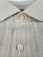 Ermenegildo Zegna Plaid Shirt XL Taupe Brown Plaid
