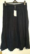 Monsoon Danny Navy Blue Crinkled Full Embroidered Skirt Size Large BNWT