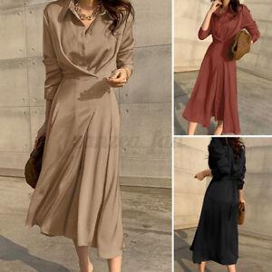 ZANZEA 8-24 Women Button Up Shirt Dress Pleated Belted Long Sleeve Maxi Dress