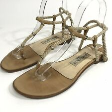 Jimmy Choo Sandals Tan Leather Rope Strappy Size 37 US 6.5 - 7 Tie Back Flat