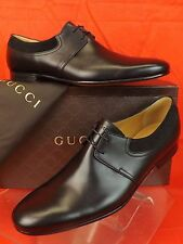 NIB GUCCI BLACK BETIS GLAMOUR LEATHER SUEDE SCRIPT LOGO OXFORDS 11 12 # 368445