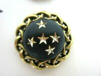 New Vtg Button Covers Lot of 5 Blue Enamel with Gold Stars/Braided Trim NOS